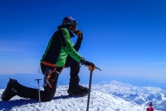 Scot H on Denali summit with Forty Below K2 overboot 2013