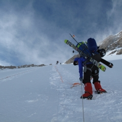 Holly Walker ascending Denali 2012 in Fresh Tracks overboots