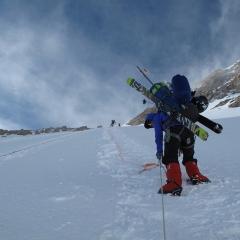 Holly Walker ascending Denali 2012 in Fresh Tracks overboots