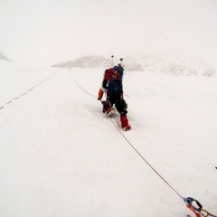 Alex L. on West Buttress headwall Denali 2014 ascent