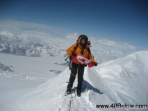 Greg M using 40 Below overboots on summit of Mt. Logan 2008