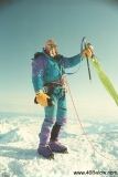 Trigger Twigg on Denali summit with Forty Below Purple Haze overboots in 1993.