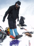 Travis H. using an old pair of Everest overboots in 2007 on Denali.