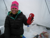 Laura R. at 11,000 ft. on Denali 2013 with Forty Below .5 L size Bottle Boot