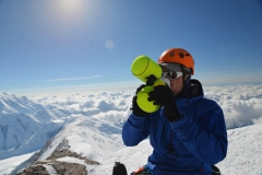 Anders C. on summit of Denali 2013 with 40 Below Bottle Boot