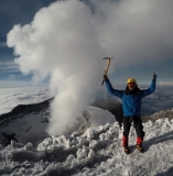 Issac K. wearing Forty Below K2 Superlight overboots with single boots on Cotopaxi 2018