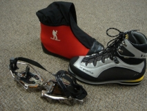 K2 with mountain boot and crampons