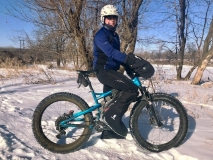 Mark S. wearing Forty Below K2 Superlight overboots on top of bike boots 2018