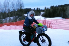 Whitney Beadle wearing Forty Below Light Energy overboots in the Arrowhead 135 Race 2018