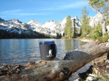 Mug Boot with Sawtooth mountains of Idaho