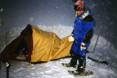 Chris sets up tent